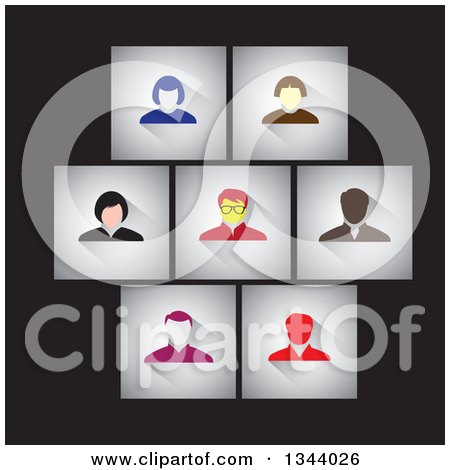 Clipart of Gray Shaded Squares with Business Men and Women Avatars over Black - Royalty Free Vector Illustration by ColorMagic