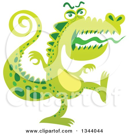 Clipart of a Cartoon Scary Crocodile Monster Marching - Royalty Free Vector Illustration by Zooco