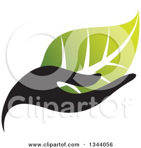 Clipart of a Black Hand Holding a Gradient Green Leaf - Royalty Free Vector Illustration by ColorMagic