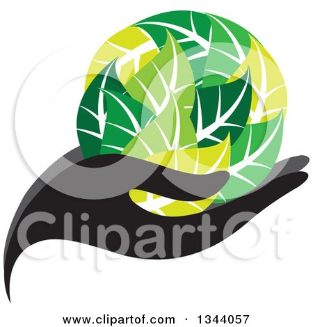 Clipart Of A Black Hand Holding A Globe Of Green Leaves Royalty Free Vector Illustration