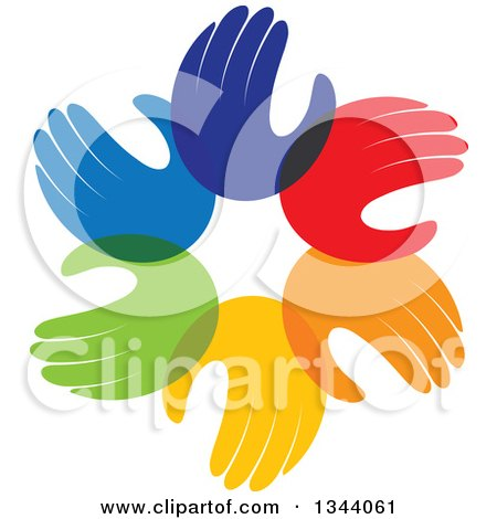 Clipart of a Circle of Colorful Human Hands 5 - Royalty Free Vector Illustration by ColorMagic