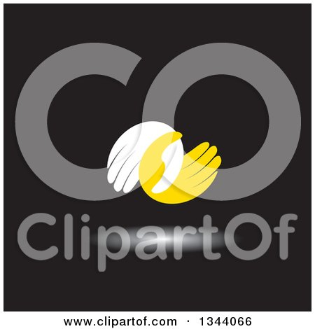 Clipart of a Pair of White and Yellow Hands Entwined at the Thumbs, over Black - Royalty Free Vector Illustration by ColorMagic