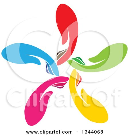 Clipart of a Circle, Flower or Windmill of Colorful Human Hands 2 - Royalty Free Vector Illustration by ColorMagic