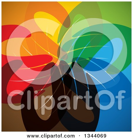 Clipart of a Background of a Group of Colorful Human Hands All in - Royalty Free Vector Illustration by ColorMagic