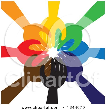 Clipart of a Group of Colorful Human Hands Reaching All in - Royalty Free Vector Illustration by ColorMagic