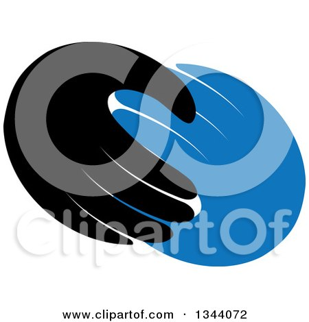 Clipart of a Pair of Blue and Black Hands - Royalty Free Vector Illustration by ColorMagic