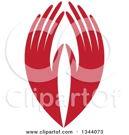 Clipart of a Pair of Long Red Hands - Royalty Free Vector Illustration by ColorMagic