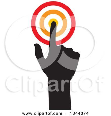 Clipart of a Black Silhouetted Hand Pointing to a Target - Royalty Free Vector Illustration by ColorMagic