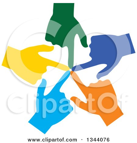 Clipart of a Circle of Colorful Human Hands Pointing Inwards - Royalty Free Vector Illustration by ColorMagic