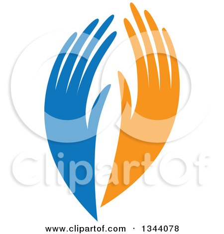 Clipart of Blue and Orange Human Hands - Royalty Free Vector Illustration by ColorMagic