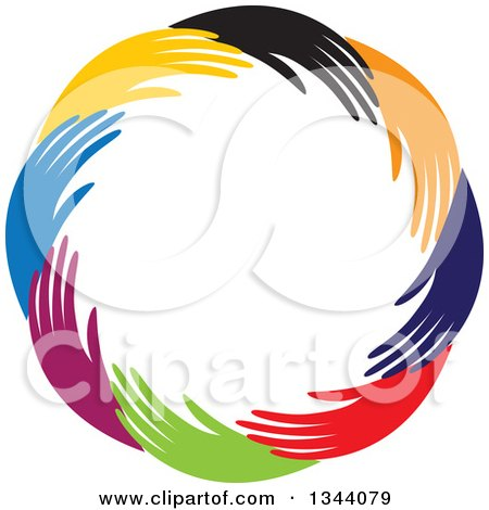 Clipart of a Circle of Colorful Human Hands 3 - Royalty Free Vector Illustration by ColorMagic