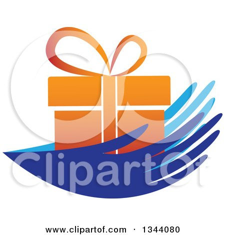 Clipart of a Pair of Blue Hands Holding an Orange Gift - Royalty Free Vector Illustration by ColorMagic