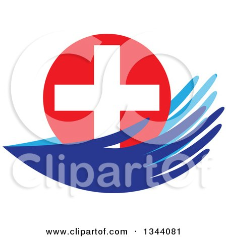 Clipart of a Pair of Blue Hands Holding a Medical Cross - Royalty Free Vector Illustration by ColorMagic