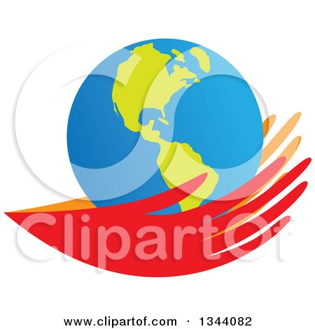 Clipart of a Pair of Red and Orange Hands Holding an Earth Globe - Royalty Free Vector Illustration by ColorMagic