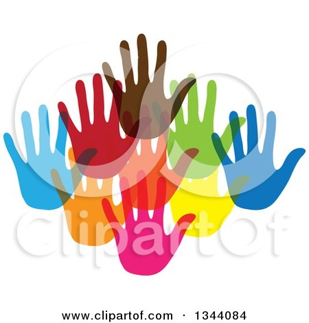 Clipart of a Group of Colorful Human Hands - Royalty Free Vector Illustration by ColorMagic