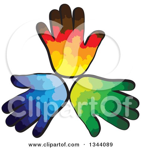 Clipart of a Trio of Colorful Human Hands - Royalty Free Vector Illustration by ColorMagic