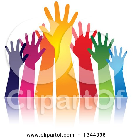 Clipart of a Group of Colorful Human Hands Reaching, and Reflection - Royalty Free Vector Illustration by ColorMagic