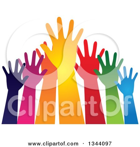 Clipart of a Group of Colorful Human Hands Reaching - Royalty Free Vector Illustration by ColorMagic