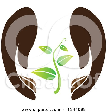 Clipart of a Pair of Gentle Brown Hands Protecting a Seedling Plant - Royalty Free Vector Illustration by ColorMagic