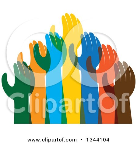 Clipart of a Group of Colorful Human Hands Reaching 2 - Royalty Free Vector Illustration by ColorMagic