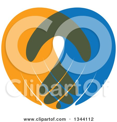 Clipart of Blue and Orange Human Hands 2 - Royalty Free Vector Illustration by ColorMagic