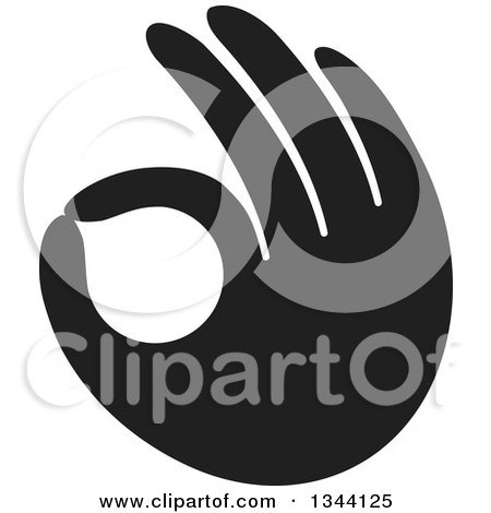 Clipart of a Black Hand Gesturing Ok - Royalty Free Vector Illustration by ColorMagic