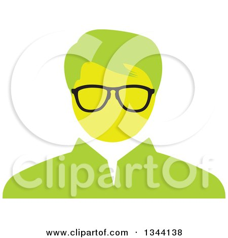 Clipart of a Green Bespectacled Businessman Avatar - Royalty Free Vector Illustration by ColorMagic
