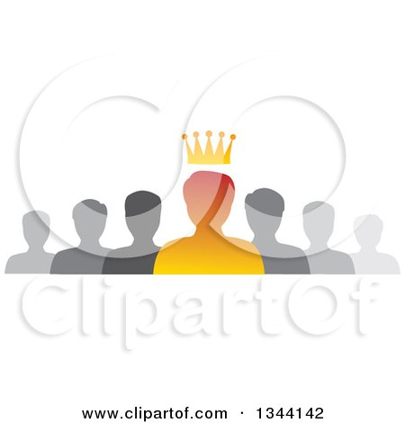 Clipart of a Gradient Orange Crowned Business Man Boss and Gray Team - Royalty Free Vector Illustration by ColorMagic