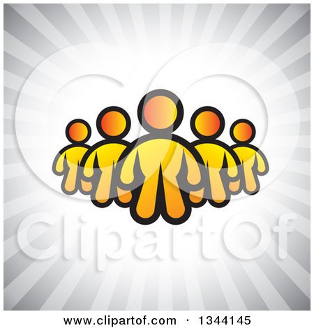 Clipart of a Team of Yellow People over Gray Rays - Royalty Free Vector Illustration by ColorMagic
