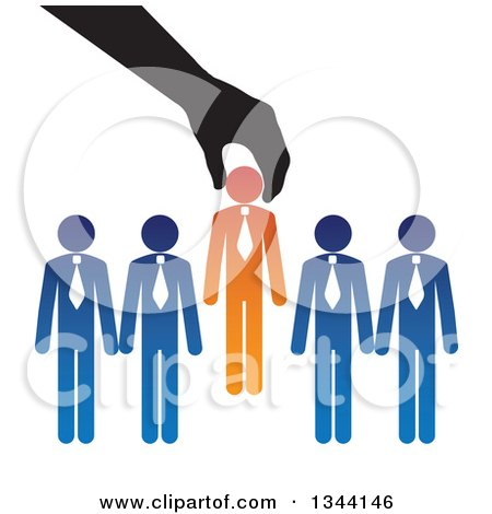 Clipart of a Hand Inserting a New Boss Businessman in to a Team - Royalty Free Vector Illustration by ColorMagic