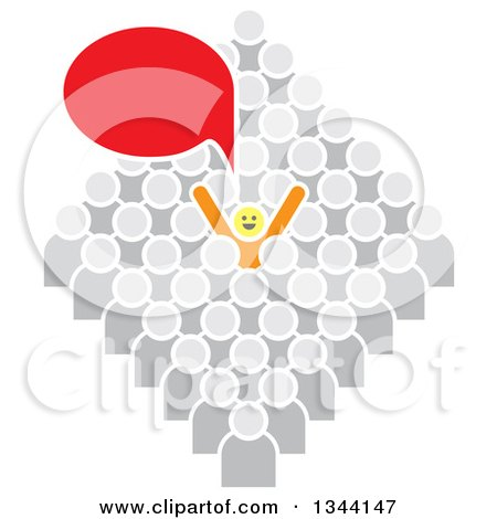 Clipart of a Successful Cheering and Talking Yellow Person Standing out from a Gray Crowd - Royalty Free Vector Illustration by ColorMagic