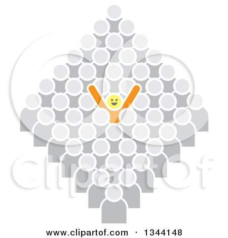 Clipart of a Successful Cheering Yellow Person Standing out from a Gray Crowd - Royalty Free Vector Illustration by ColorMagic