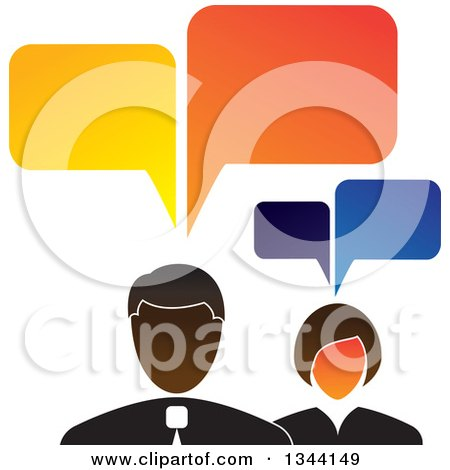 Clipart of a Business Man and Woman with Speech Balloons - Royalty Free Vector Illustration by ColorMagic