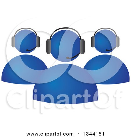 Clipart of a Team of Blue Business People Wearing Head Sets - Royalty Free Vector Illustration by ColorMagic