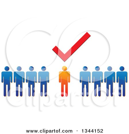 Clipart of a Check Mark over a Unique Orange Man in a Line of Blue People - Royalty Free Vector Illustration by ColorMagic