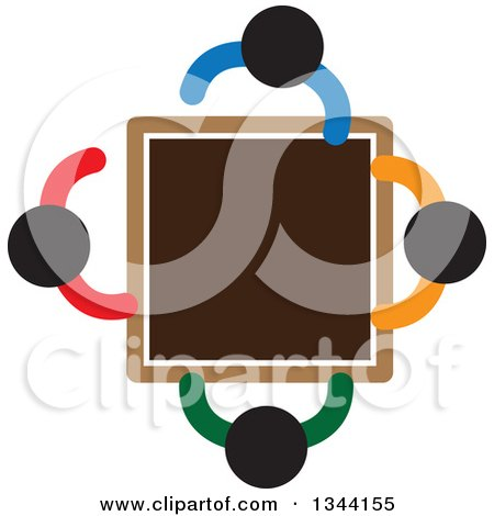 Clipart of a Group of Colorful People Meeting Around a Table - Royalty Free Vector Illustration by ColorMagic