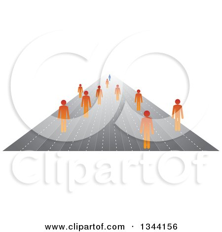 Clipart of Orange Businessman Following a Blue Leader on Paths - Royalty Free Vector Illustration by ColorMagic