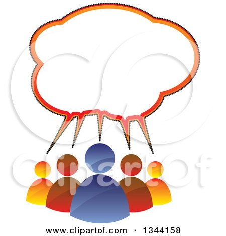 Clipart of a Colorful Team of People Under a Speech Balloon - Royalty Free Vector Illustration by ColorMagic