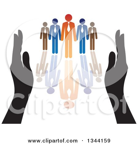 Clipart of Hands Protecting a Blue and Orange Team of Business Men and Reflection - Royalty Free Vector Illustration by ColorMagic