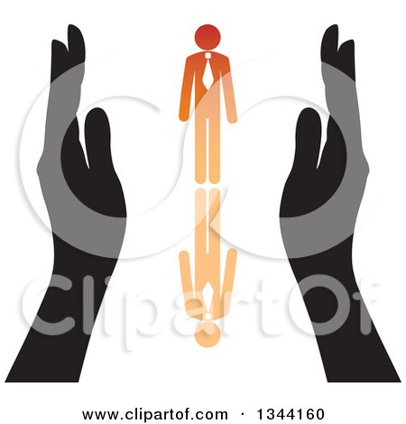 Clipart of Hands Protecting an Orange Business Man and Reflection - Royalty Free Vector Illustration by ColorMagic