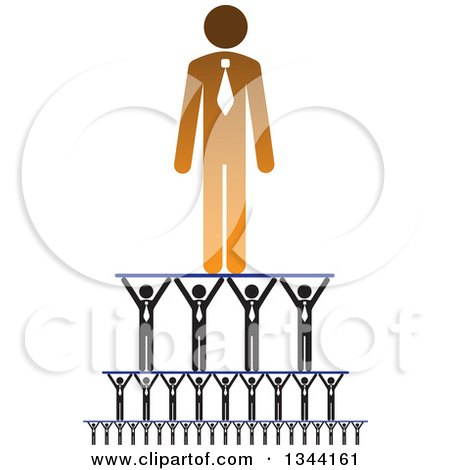 Clipart of a Gradient Orange Businessman Being Held up by a Team - Royalty Free Vector Illustration by ColorMagic