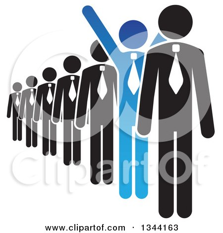 Clipart of a Blue Cheering Businessman Standing out in a Line - Royalty Free Vector Illustration by ColorMagic