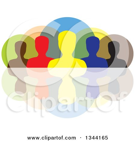 Clipart of a Colorful Team of Silhouetted Men from the Shoulders Up, over Circles and a Reflection - Royalty Free Vector Illustration by ColorMagic