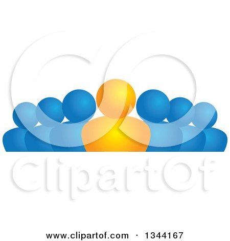 Clipart of a Gradient Orange Boss and Team of Blue People - Royalty Free Vector Illustration by ColorMagic