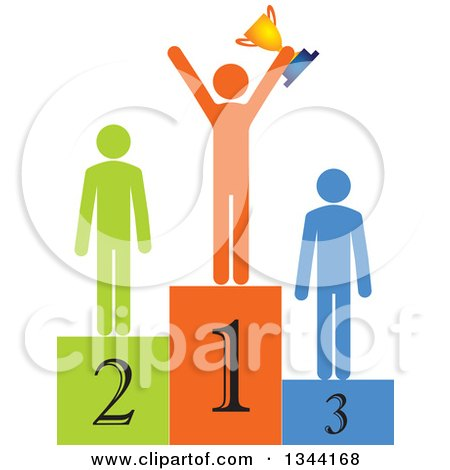 Clipart of a Successful Man Holding a Trophy and Cheering on a Podium, with Runners up - Royalty Free Vector Illustration by ColorMagic