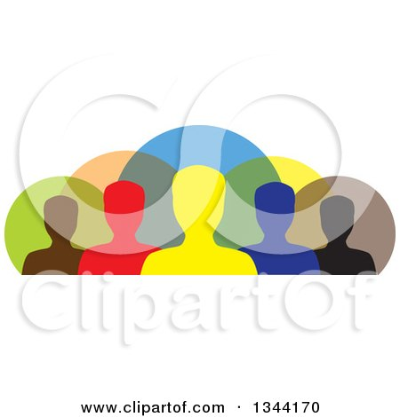 Clipart of a Colorful Team of Silhouetted Men from the Shoulders Up, over Circles - Royalty Free Vector Illustration by ColorMagic