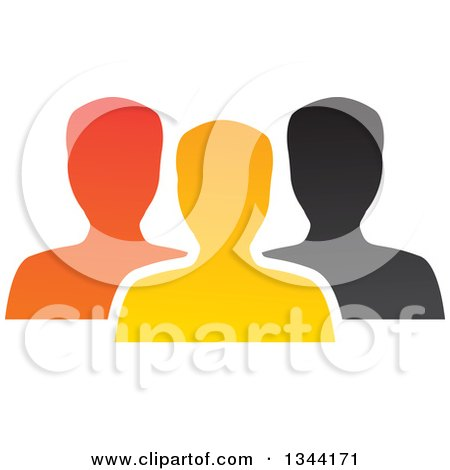 Clipart of a Colorful Team of Silhouetted Men from the Shoulders up - Royalty Free Vector Illustration by ColorMagic