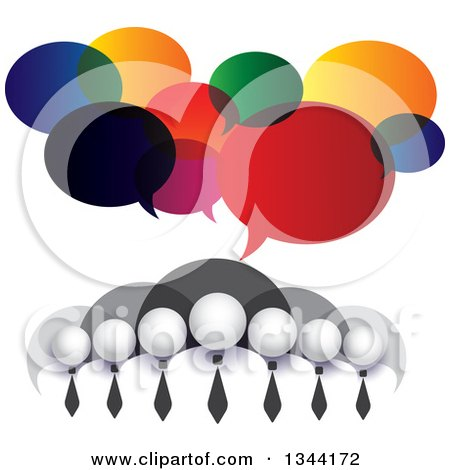 Clipart of a Team of Grayscale Business Men over Bubbles, with Colorful Speech Balloons - Royalty Free Vector Illustration by ColorMagic
