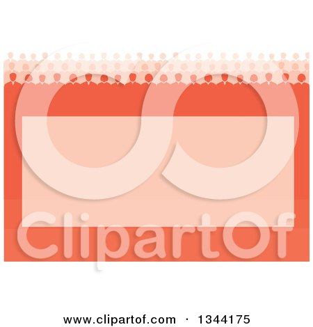 Clipart of a Team of Business Men and Women over an Orange Frame - Royalty Free Vector Illustration by ColorMagic
