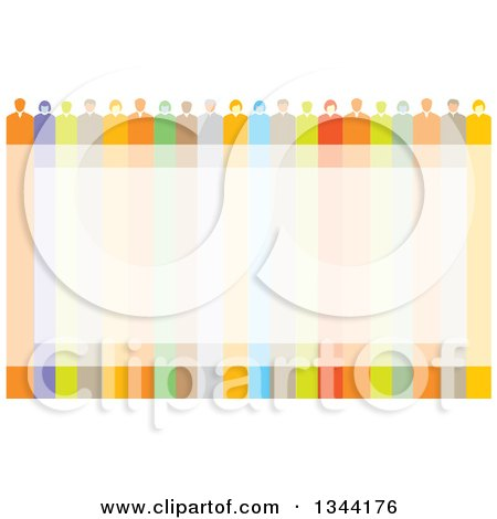 Clipart of a Team of Business Men and Women over a Colorful Frame - Royalty Free Vector Illustration by ColorMagic